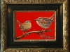 2 Winterkoninkjes in rood maat 15 x 20 cm
