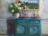 Olieverf opdracht turquoise kastje