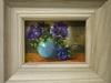 Anemonen in turquoise vaasje met houten lijst te koop