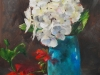 Olieverf Hortensia en geranium te koop
