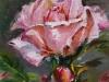 Olieverf Roze roos en rozenknop