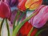 Olieverf gekleurde tulpen maat 14x14 cm op paneel