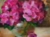 olieverf Roze hortensia's in vaasje te koop