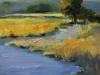 Olieverf schilderij Landschap-met-vennetje te koop, maat 14 x 14 cm
