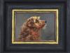 Olieverfschilderij-met-lijst-hondje-opkijkend te koop