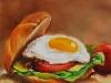 """Olieverf """"Broodje tomaat en ei"""" 20x20 cm (Verkocht)"""