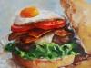 "Olieverf ""Cheeseburger"", 20x20 cm"