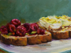 olieverf-boterhammen-met-frambozen-en-ei te koop