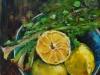 Olieverf schaaltje citroenen te koop maat 14x14 cm