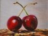 Olieverf couple-of-cherries, maat 10 x 10 cm (VERKOCHT)