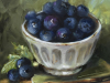 olieverf-blauwe-bessen-in-witte-kom te koop
