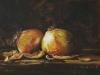 uien en uienschillen, maat 18 x 24 cm op board