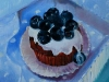 Olieverf cup cake blauwebessen