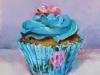 Olieverf rozen-cupcake, olieverf op paneel te koop