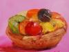 vruchtengebakje met roze achtergrond te koop