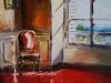 Olieverf Interieur met Rode stoel (VERKOCHT)