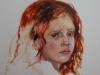 Studie meisje rood haar olieverf