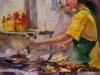 """Olieverf schilderij """"Kijkje in de keuken"""" maat 18 x 13 cm te koop"""