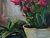 Olieverf Lidcactus maat 24x18 cm (Verkocht)