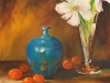 Olieverf groene vaas met tulpen (Verkocht)
