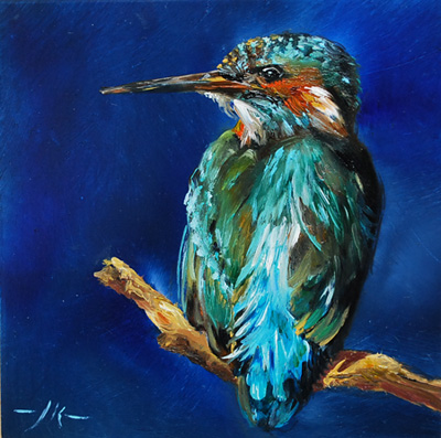 Olieverf vogels olieverf for Schilderij op aluminium