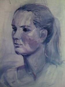Model-Eva, olieverf op speciaal papier, maat 50 x 40 cm