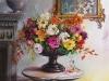 """Opdracht olieverf Baroque schaal met bloemen en grijze kom"""", maat 60x60x3cm."""
