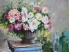 opdracht olieverf blauwe boeken en bloemen, maat 60x60x3cm
