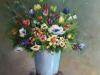 Olieverf-schilderij-blauwe-vaas-met-boemen te koop