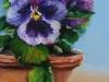 Olieverf Bloempotje met viooltjes 15 x 10 cm (Verkocht)