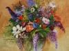 Olieverf Boeket bloemen in een glazen vaas (Verkocht)