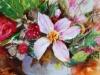 Olieverf-Roze bloemen met vruchten te koop