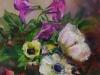 Olieverf gemengd boeket met anemonen 14x14 cm te koop