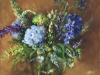 olieverf-blauwe-hortensias-boeket in vaas (Verkocht)
