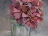 Olieverf oud-roze-hortensia-in-glas (Verkocht)