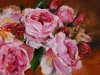 pink-roses olieverf op paneel (Verkocht)