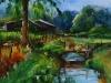 Olieverf Landschap met bruggetje