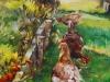 drie-op-een-rij olieverfschilderij maat 14 x 14 cm (Verkocht)