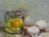 olieverf eierdooier in glas, maat 20x20 cm (Ntk)