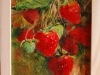 Grenen lijstje met olieverf aardbeien