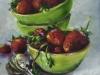 olieverf-groene-schaaltjes-met-aardbeien-15x15-cm