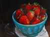 olieverf schaaltje aardbeien maat 14x14 cm (Verkocht)