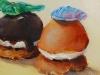 Olieverf Petite glaces 7x 8 x 1,5 cm, op Eiken paneel te koop