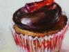 Olieverf cupcake en chocolade (Verkocht)