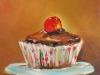 Olieverf chocolade cake II 14x14 cm te koop