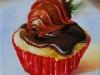 olieverf cupcake-choco, op canvas doek te koop