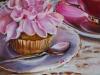 Olieverf cupcake-met-kop-en-schotel (Verkocht)