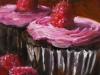 olieverf frambozen-cupcake te koop