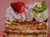 olieverf slagroomtaartje 10x10 cm op Mus paneel (Verkocht)
