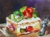 olieverf slagroomtaartje met kiwi 13x18 cm te koop
